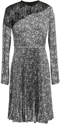 Mikael Aghal Lace-paneled Pleated Printed Cady Dress