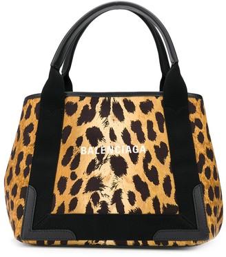 Balenciaga Navy Cabas S leopard-print tote