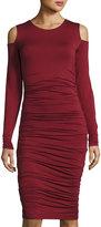 Bailey 44 Ruched Jersey Cold-Shoulder Dress, Burgundy