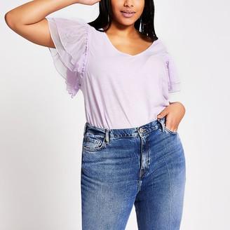 River Island Plus purple mesh frill short sleeve T-shirt