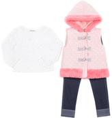 Little Lass Blush Toggle Hooded Puffer Vest Set - Infant & Girls