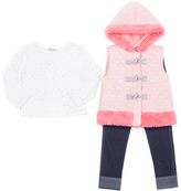 Little Lass Blush Toggle Hooded Puffer Vest Set - Infant, Toddler & Girls