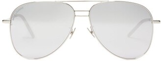 Saint Laurent Triple-bridge Metal Aviator Sunglasses - Silver