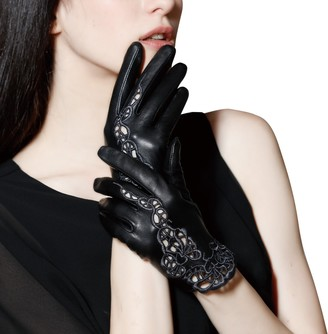 FIORETTO Women Sexy Driving Leather Gloves Unlined Touchscreen Black Lace Embroidery Italian Nappa - black - X-Large