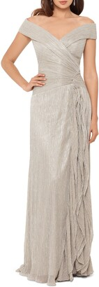 Xscape Evenings Metallic Plisse Off the Shoulder Gown
