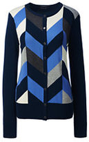 Classic Women's Petite Supima Intarsia Cardigan Sweater-Radiant Navy Chevron