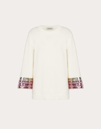 Valentino Embroidered Cashmere Wool Jumper Women Ivory Virgin Wool 70%, Cashmere 30% L