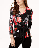 INC International Concepts I.n.c. Petite Floral-Print Tie-Front Top, Created for Macy's