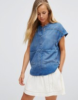 Maison Scotch Short Denim Sleeveless Shirt