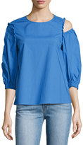 Tibi Sculpt Poplin Top, Blue