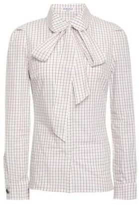 Claudie Pierlot Pussy-bow Checked Cotton-poplin Shirt