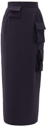 Natasha Zinko Cargo-pocket Wool Midi Pencil Skirt - Womens - Navy