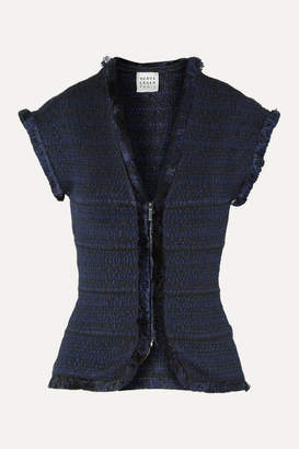 Herve Leger Fringed Jacquard-knit Jacket - Midnight blue