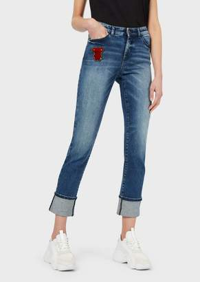 Emporio Armani J81 Skinny Jeans With Turn-Ups And Velour Patch