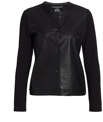 Majestic Filatures Leather Front Button-Up Cardigan