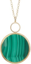 Anna Beck 18K Gold Plated Sterling Silver Large Round Malachite Pendant Necklace