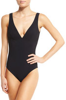 Karla Colletto Basics V-Neck One-Piece Swimsuit, Black