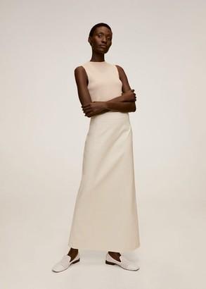 MANGO Flared long skirt beige - 4 - Women
