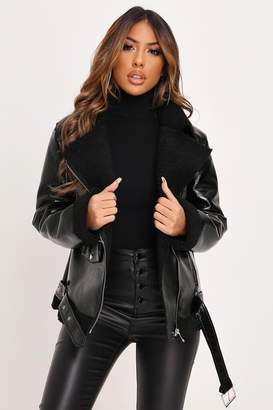 I SAW IT FIRST Black High Shine Shearling Aviator