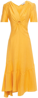 Sandro Tamara Asymmetric Cutout Gathered Twill Midi Dress