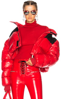 Unravel Shiny Nylon Cropped Down Jacket in Red.