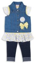 Little Lass Three-Piece Denim Vest, Top and Pants Set