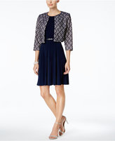 Jessica Howard Petite Belted Dress and Lace Jacket