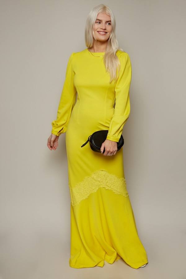 Thumbnail for your product : Little Mistress Betty Yellow Lace Trim Fishtail Maxi Dress