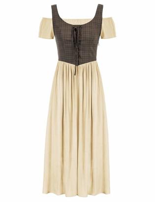 SCARLET DARKNESS A-Line Patchwork Short Sleeves Long Dress Cold Shoulder Square Neck Renaissance Medieval 6 Light Green SL45S21-1