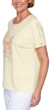 Alfred Dunner Petite Spring Lake Embroidered Butterfly Top