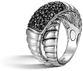 John Hardy Bedeg Silver Lava Crossover Ring with Black Sapphires