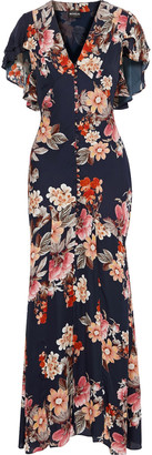 Nicholas Fluted Floral-print Silk-chiffon Maxi Dress