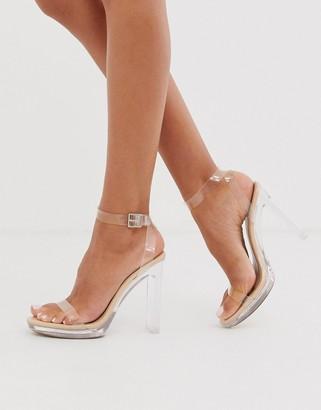 Public Desire Steal platform perspex heeled sandal in beige