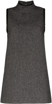 we11done Herringbone A-line mini dress