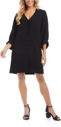 Karen Kane Button Front Crepe Back Satin Dress