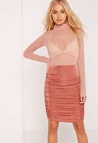 Missguided Textured Slinky Ruched Side Midi Skirt Pink