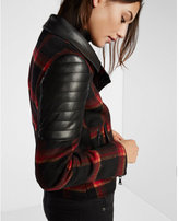 Express plaid wool blend moto jacket
