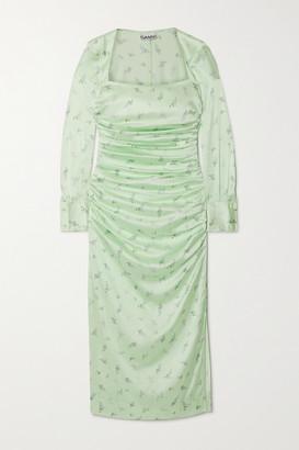 Ganni Ruched Floral-print Stretch-silk Satin Midi Dress - Light green