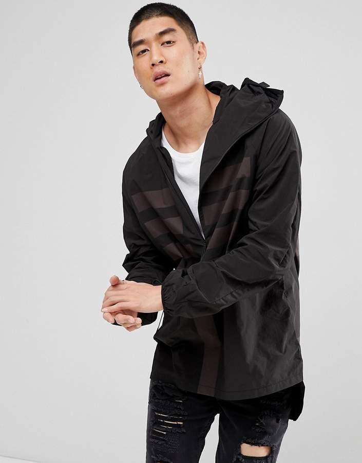 MHI Windbreaker Jacket In Black With Reflective Panels