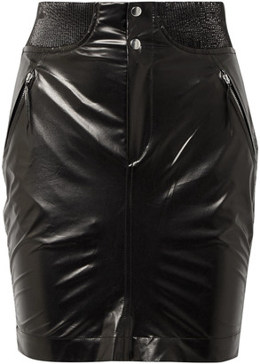 Isabel Marant Amel Ribbed Knit-trimmed Coated-silk Mini Skirt