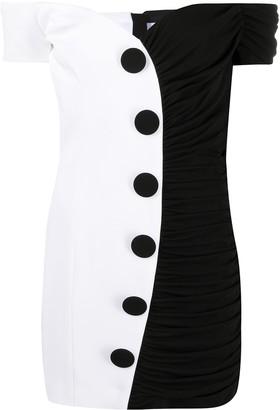 Balmain Two-Tone Off-Shoulder Mini Dress