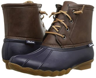 Skechers Mid Lace-Up Duck Boot (Navy/Brown) Women's Shoes
