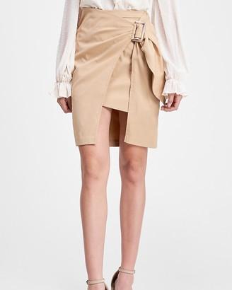 Express En Saison High Waisted Front Buckle Mini Skirt