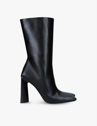 Balenciaga Moon Bootie square-toe heeled leather boots