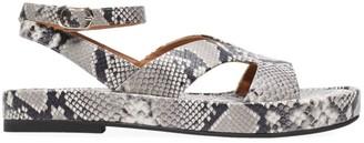 Kate Spade Marshmallow Snakeskin-Embossed Leather Flatform Sandals