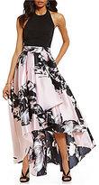 Ignite Evenings Halter Floral-Print Hi-Low Dress