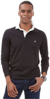 Nautica Long Sleeve Two Tone Rugby Collar Shirt