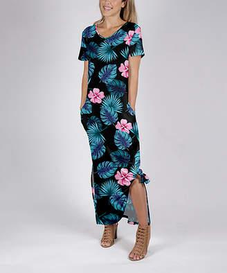 Beyond This Plane Women's Maxi Dresses BLK - Black & Turquoise Floral Side-Slit Pocket Maxi Dress - Women & Plus