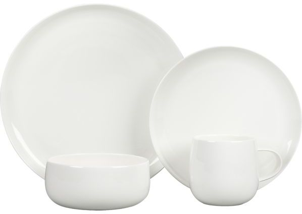 Crate & Barrel Camden Bone China 16-Piece Dinnerware Set: four each of dinner plate, salad plate, bowl and mug.