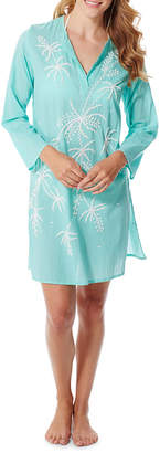 Flora Bella Estrella Long-Sleeve Cotton Voile Tunic w/ Beaded Embroidery